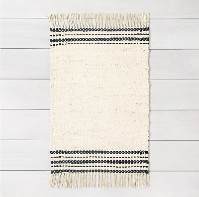 $14.99 • Buy Hearth & Hand With Magnolia Charcoal Stripe Jute Rug Size 2' X 3'