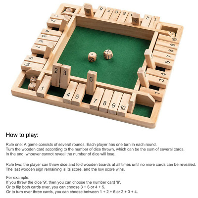 £9.79 • Buy New Shut The Box Game Wooden Board Number Drinking Dice Toy Family Traditional
