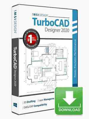 TurboCAD Designer 2020 2D CAD Design Software -- Electronic Download • 42.91£