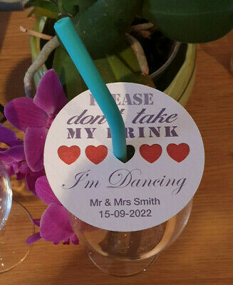 £12.99 • Buy 50 Round Wedding Coasters Laminated, With Heart Cutout For Straw, Any Colour.