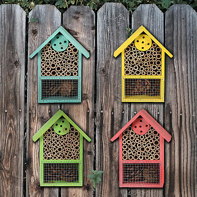 £6.99 • Buy Hanging Wooden Insect Bug Bee Hotel House Natural Wood Shelter Box Roof Coloured