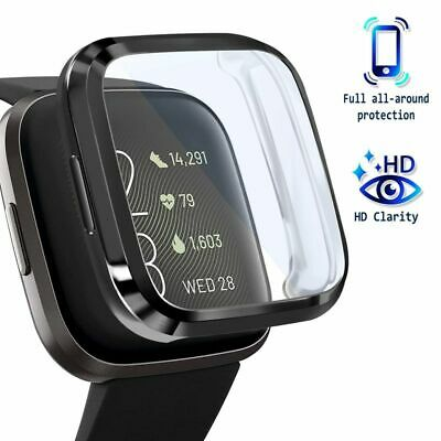 $ CDN10.89 • Buy For Fitbit Versa 2 Screen Protector With Soft TPU Rubber Case Bumper Clear/Black