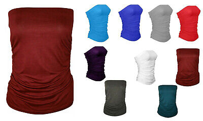£4.95 • Buy New Women's Ladies Plain  Boob Tube Strapless Ruched Sleeveless Bandeau Top 8-26