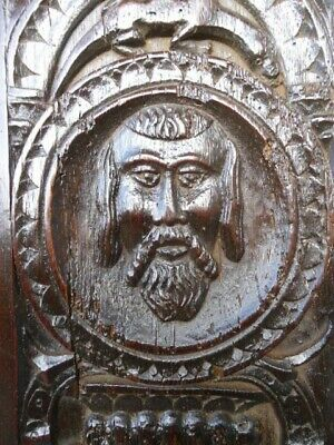 £395 • Buy Rare 16th Century Oak Carved Panel Portrait Head And A Lizard Above