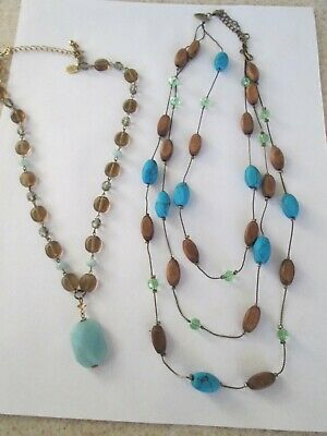 $ CDN18.79 • Buy Lot 2 LIA SOPHIA Turquoise Wood & Bead Necklace Smokey Topaz Blue Tiered Glass