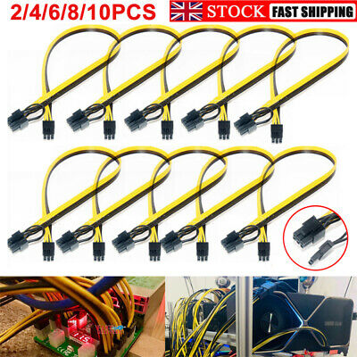 2/4/6/8/10 6pin To 8pin (6+2) PCIe 60CM Extended Power Cable For GPU ASIC Mining • 5.59£
