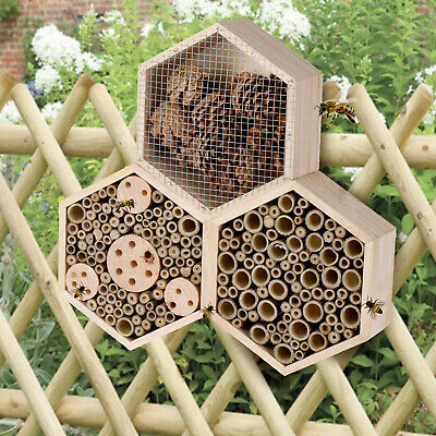 £16.99 • Buy Large Hanging Insect Bug Bee Nest Hexagonal 3 Section Hotel Wooden House Shelter