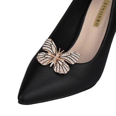 £5.49 • Buy Diamante Butterfly Shoe Clips Charms Buckle Remove Pearl Crystal Decoration Gift