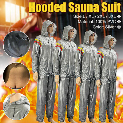 AU16.55 • Buy Hooded Sauna Sweat Suit Gym Fitness Loss Weight Exercise Training Body Workout