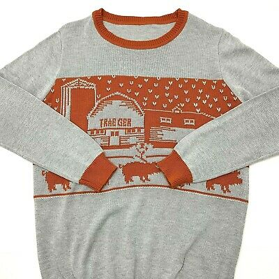 $17.95 • Buy Traeger Mens Ugly Christmas Sweater Gray Orange Size Large (TAG XL)