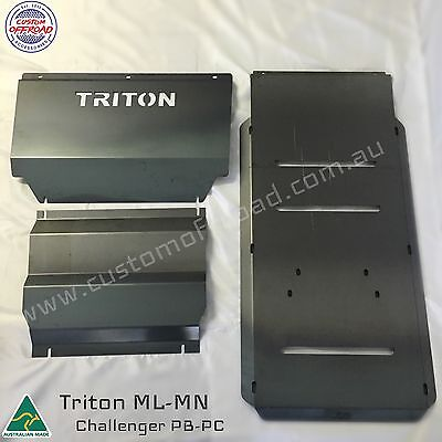 AU265 • Buy Triton Bash Plates ML-MN 3pce Front, Diff & Trans 3mm Mild Steel - Aussie Made