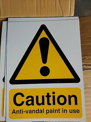 £4.50 • Buy Caution Anti Vandal Paint In Use Sign