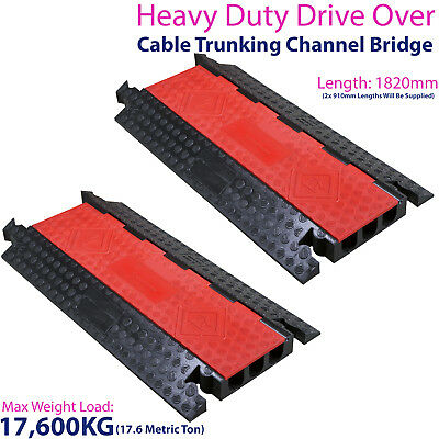 £499.99 • Buy 2x 17,600KG 3 Channel Drive Over Cable Protector-Outdoor Trunking Bridge Ducting