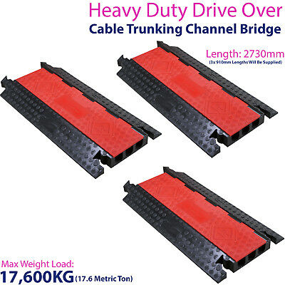 £724.99 • Buy 3x 17,600KG 3 Channel Drive Over Cable Protector-Outdoor Trunking Bridge Ducting