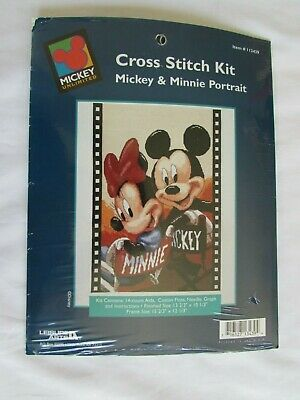 £18.21 • Buy Disney Mickey Minnie Mouse Film Chair Portrait Counted Cross Stitch Kit 113439