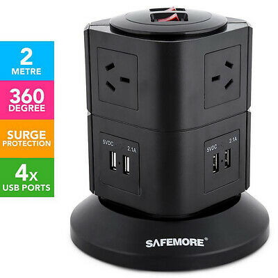 AU64.93 • Buy 2-Level Power Stacker Surge Protected 6 Outlets 4 USB Ports Powerboard Modular