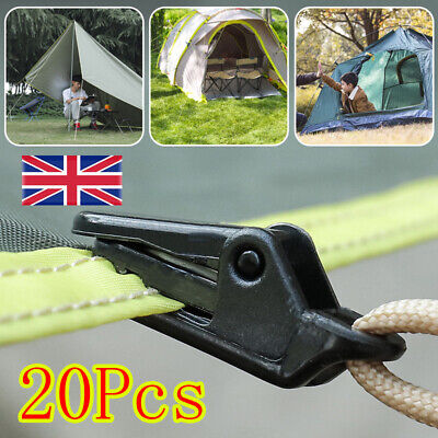 20 PCS Awning Tarp Clips Set Tent Clamp Buckle Camping Tool  Heavy Duty Black  • 6.09£