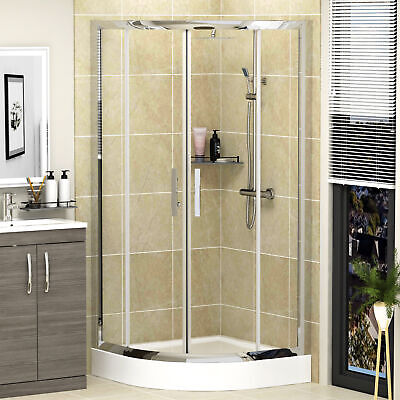 Double Sliding Door Quadrant Walk In Shower Enclosures And High Tray Cubicle • 238.99£