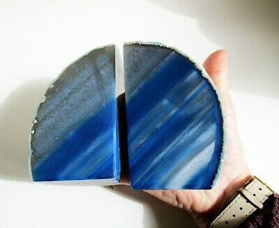 Blue Agate Bookends Crystal Polished  1076g 110mm Tall Gift  • 26.80£