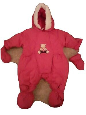 £9.99 • Buy All In One Babygrow Ski Snow Suit Coat Insulated Pink Waterproof Bear 0-3 Months