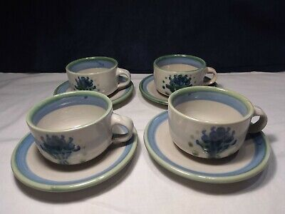 $80 • Buy 4 MA Hadley Cups And Saucers Blue Green Stoneware Kentucky