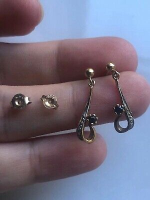 AU95 • Buy  Vintage 375 9ct Sapphire Yellow Gold Earrings 9ct