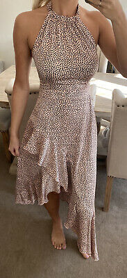£19.99 • Buy Lipsy Rose Gold Spot Print Asymmetrical Ruffle Dress Size 8 New With Tags