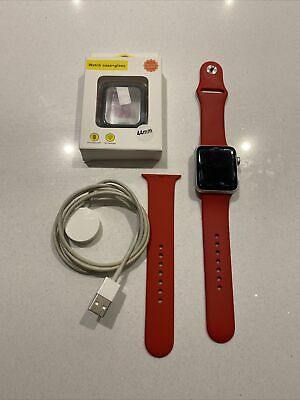 $ CDN275.78 • Buy Apple Watch Series 3 GPS & Cellular 42mm Silver Aluminium With Red Sports Strap