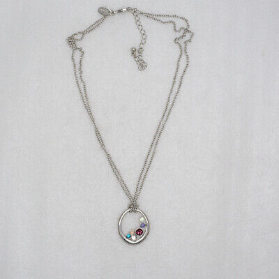 $ CDN8.77 • Buy Lia Sophia Signed Jewelry Silver Tone Colorful Cut Crystals Pendant Necklace