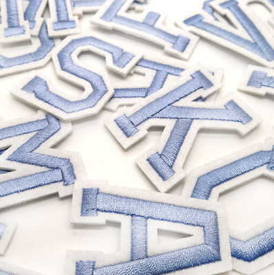 £0.99 • Buy Baby Blue Letter Patch Patches Iron On / Sew On Alphabet Embroidered Letters