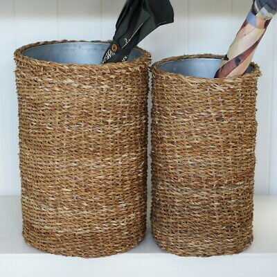 AU81 • Buy Seagrass Umbrella Stand With Tin Insert Small Or Large Hamptons Home Decor