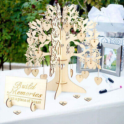 £11.63 • Buy Wedding Wishing Tree Set Guest Book Party Home Hearts Pendant DIY Signing Card