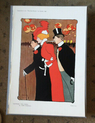 1898 Art Nouveau John Hassall Colour Poster  Between Two Fires  West End Review • 39.90£