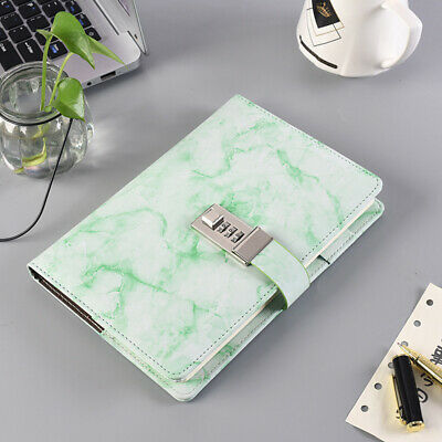 £10.49 • Buy Marbled PU Leather Journal Wired Diary Lockable NoteBook With Password Code Lock