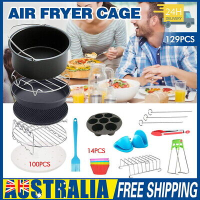 AU24.99 • Buy 8 In Air Fryer 129pc Accessories Frying Cage Dish Baking Pan Rack Pizza Tray Pot