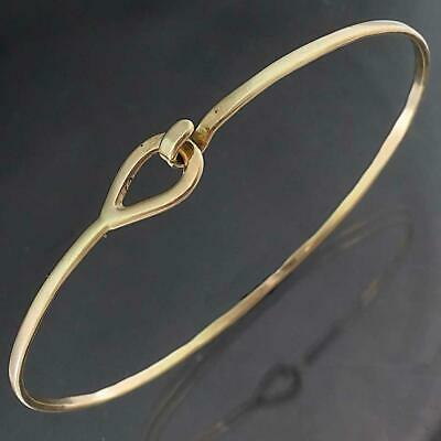 AU229 • Buy Hand Wrought Solid 9k Yellow GOLD BANGLE Bracelet With Hook & Eye Catch 4.1gm