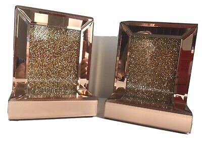 JM By Julien Macdonald Encapsulated Crystal Bookends Rose Gold - New • 15£