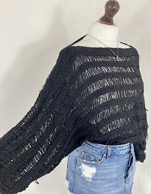 Topshop Black Distressed Mesh Ribbed Open Knit Chunky Slouchy Jumper - 14 • 8£