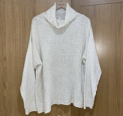 Oversized Off White/cream Slouchy Roll Neck Thin Knit Jumper Size S • 2.99£