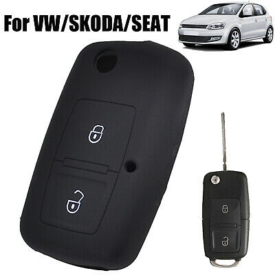 $3.29 • Buy For VW Golf Polo SKODA SEAT 2 Button Silicone Key Case Remote Fob Cover Shell
