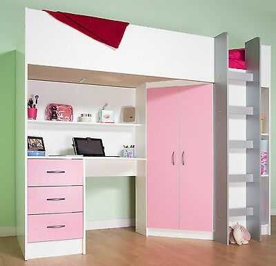 £399 • Buy Calder High Sleeper Cabin Bed Desk Storage White And Pink R227WP
