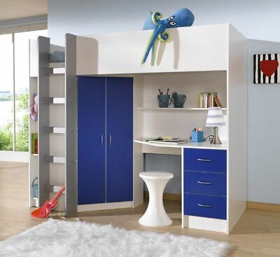 £399 • Buy Cambridge Cabin Bed High Sleeper With Desk Drawer Wardrobe White And Blue R243WB