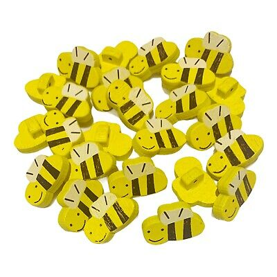 £2.79 • Buy 30 Yellow Happy Bumble Bee Wooden Shank Buttons - Craft - Scrapbook - Sewing