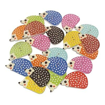 £2.79 • Buy 40 Wooden Hedgehog Buttons - Mixed Colours - Craft - Scrapbook - Sewing - Cards