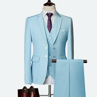 $ CDN134.62 • Buy Men Three-piece Business Casual Suit Tuxedos Wedding Groom Two Button Slim Fit