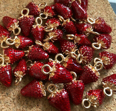 £3.50 • Buy Dainty Strawberry Charms Enamelled Gold Plated X 10 (4 Lots Available)