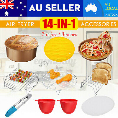 AU22.99 • Buy 113PCS 7 Inch 8 Inch Air Fryer Accessories Rack Cake Pizza Oven Frying Pan Tray