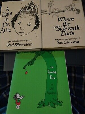 Shel Silverstein Book Lot (3) Where The Sidewalk Ends & A Light In The Attic • 14.56£