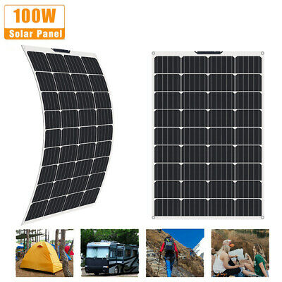£95.99 • Buy 100W 12V Dual USB Flexible Solar Panel Kit Battery Charger Boat Caravan Camping
