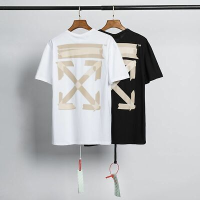 $37.69 • Buy New Off White Short Sleeve T-Shirt Men Tape Arrow Casual Cotton T-Shirts Tee